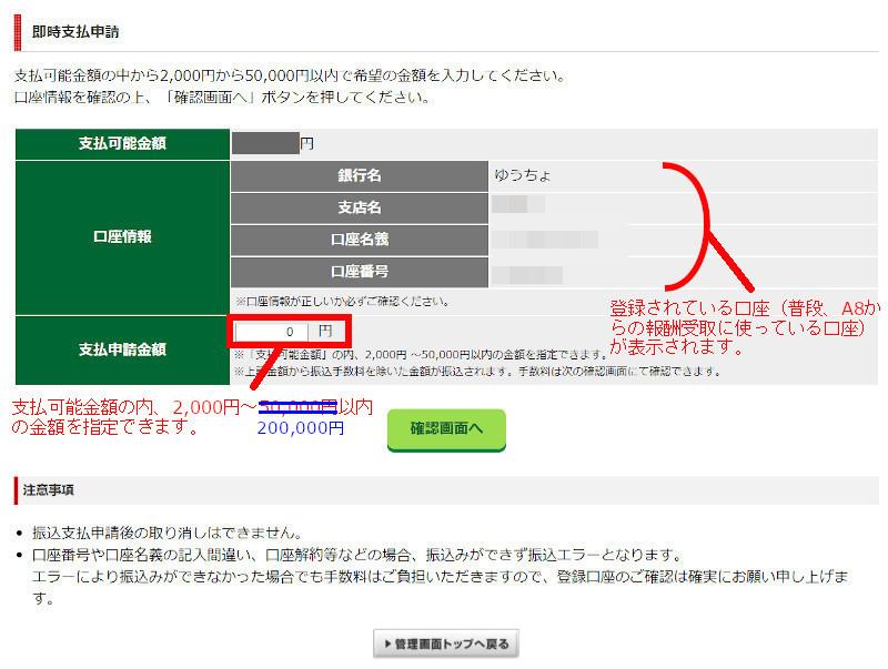 A8ネットの即時支払機能 申請画面